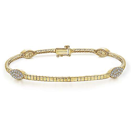 14K Yellow Gold Tennis Bracelet with Marquise Cluster Diamond Stations