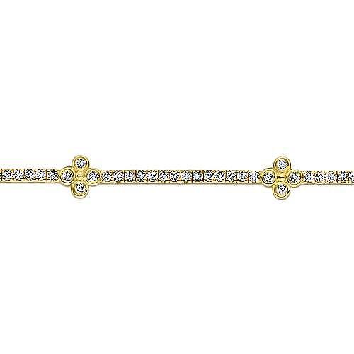 14K Yellow Gold Tennis Bracelet with Quatrefoil Diamond Stations
