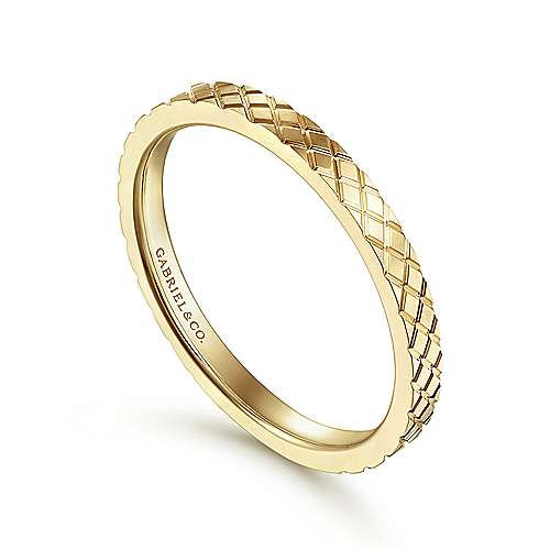 14K Yellow Gold Textured Checkered Stackable Ring