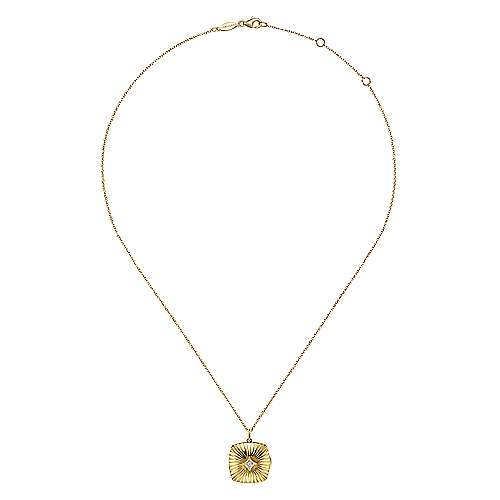 14K Yellow Gold Textured Locket Necklace with Diamond Center