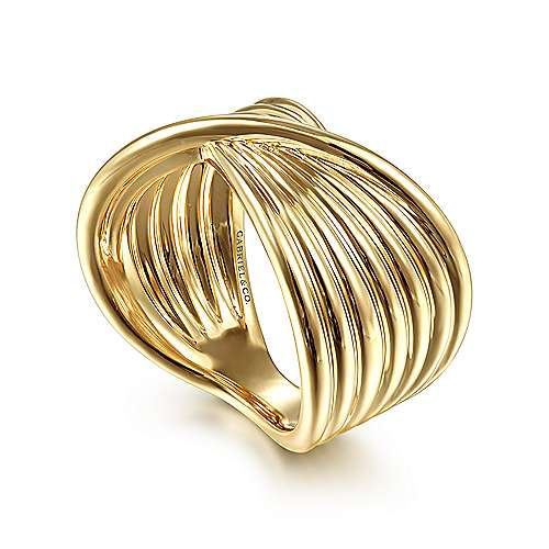 14K Yellow Gold Textured Rows Twist Ring