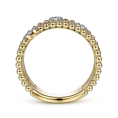 14K Yellow Gold Three Row Beaded Ring with Pavé Diamond Cluster Stations