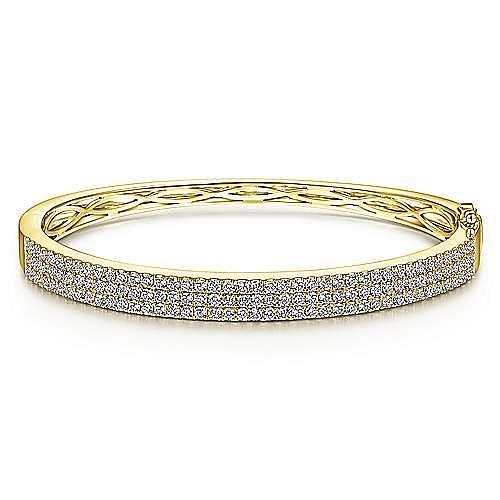 14K Yellow Gold Three Row Diamond Bangle