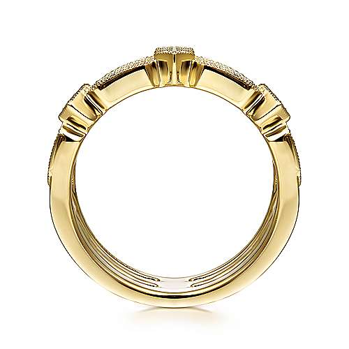 14K Yellow Gold Three Row Diamond Ring