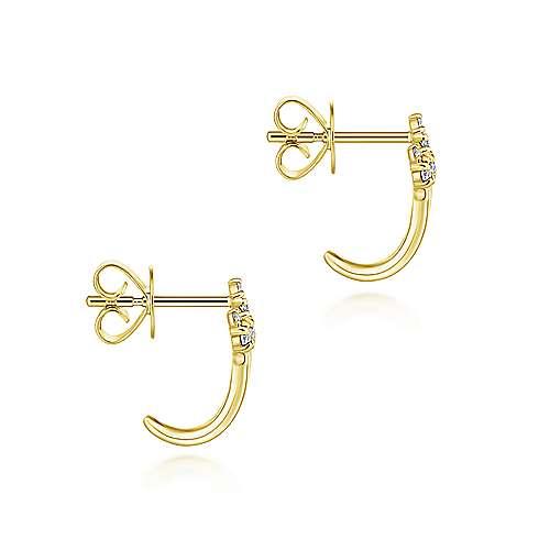 14K Yellow Gold Three Row Diamond Tip Stud Earrings