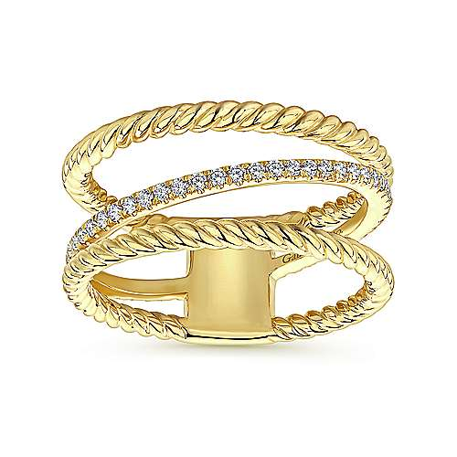 14K Yellow Gold Three Row Twisted Rope and Diamond Band Open Ring