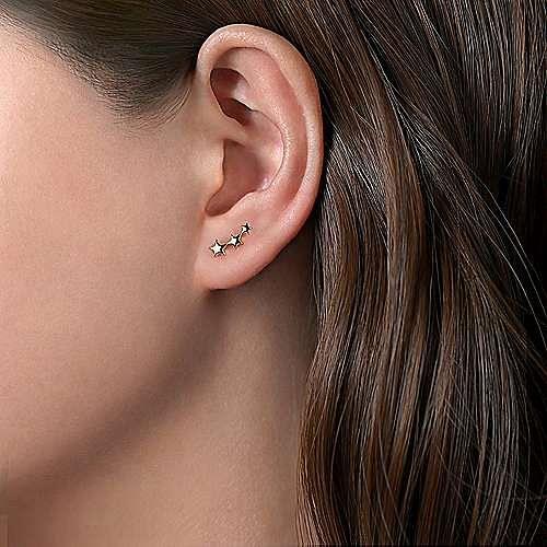 14K Yellow Gold Three Star Single Stud Earring