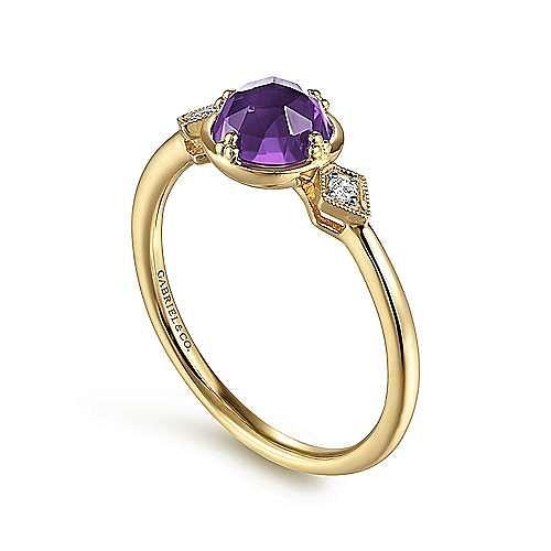 14K Yellow Gold Three Stone Amethyst and Diamond Ring