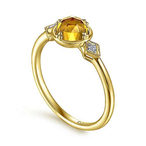 14K Yellow Gold Three Stone Citrine and Diamond Ring