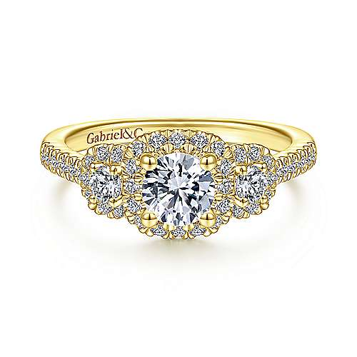 14K Yellow Gold Three Stone Halo Diamond Engagement Ring