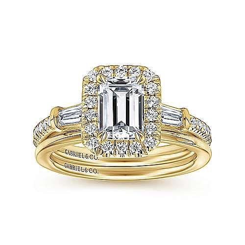 14K Yellow Gold Three Stone Halo Emerald Cut Diamond Engagement Ring