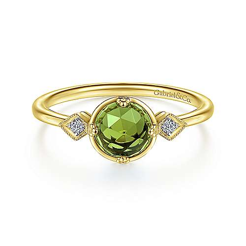 14K Yellow Gold Three Stone Peridot and Diamond Ring