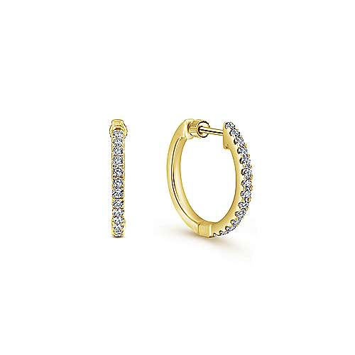 14K Yellow Gold Tiger Claw Set 15mm Round Huggie Earrings