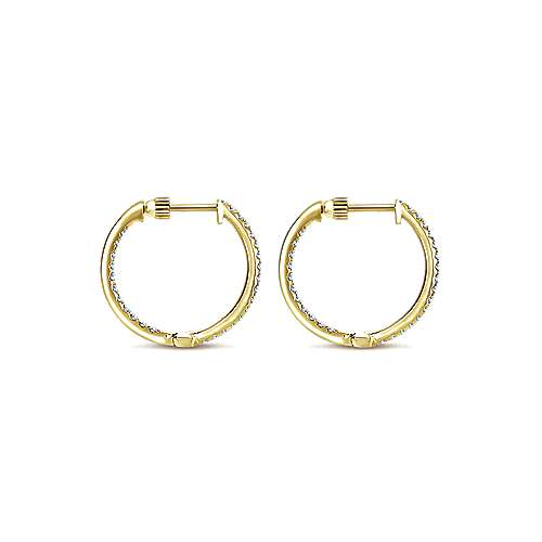 14K Yellow Gold Tiger Claw Set 20mm Round Inside Out Diamond Hoop Earrings