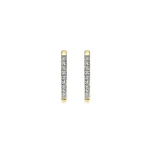 14K Yellow Gold Tiger Claw Set 25mm Round Classic Diamond Hoop Earrings