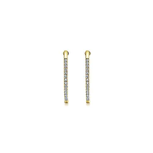 14K Yellow Gold Tiger Claw Set 30mm Round Classic Diamond Hoop Earrings