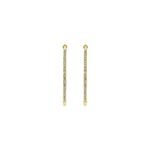 14K Yellow Gold Tiger Claw Set 40mm Round Classic Diamond Hoop Earrings