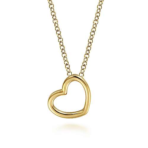 14K Yellow Gold Tilted Heart Pendant Necklace