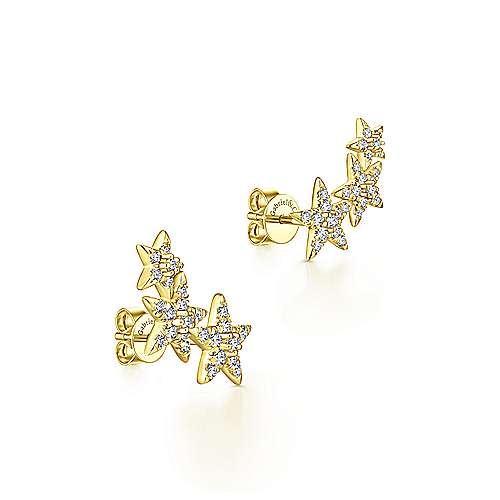 14K Yellow Gold Triple Graduating Stars Diamond Stud Earrings