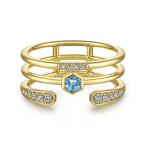 14K Yellow Gold Triple Row Diamond and Blue Topaz Ring