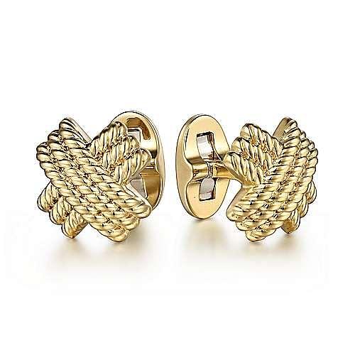 14K Yellow Gold Triple Row Twisted Rope X Cufflinks