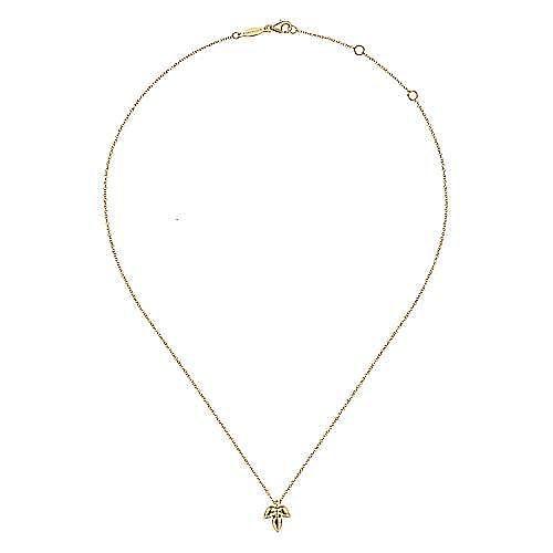 14K Yellow Gold Triple Teardrop Pendant Necklace