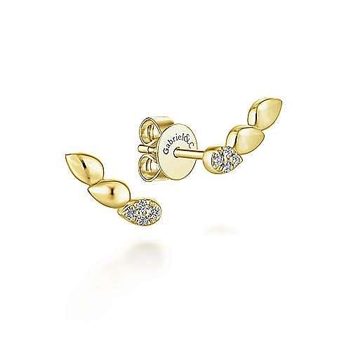 14K Yellow Gold Triple Teardrop Station Curved Stud Diamond Earrings