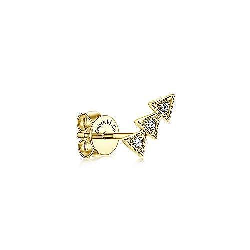 14K Yellow Gold Triple Triangle Diamond Stud Single Earring