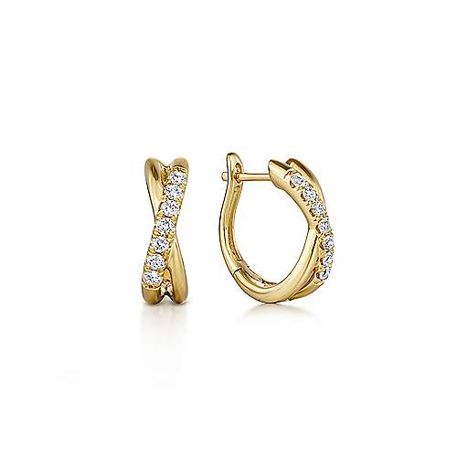 14K Yellow Gold Twisted 15mm Diamond Huggie Earrings