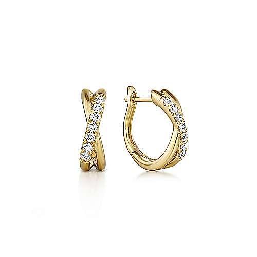 14K Yellow Gold Twisted 15mm Diamond Huggie Earrings