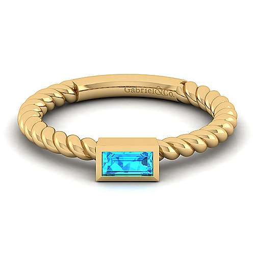14K Yellow Gold Twisted Baguette Blue Topaz Ladies Ring