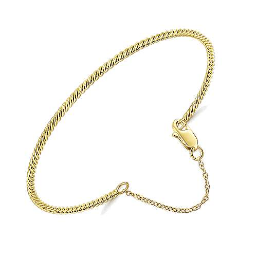 14K Yellow Gold Twisted Bangle with Chain Drop