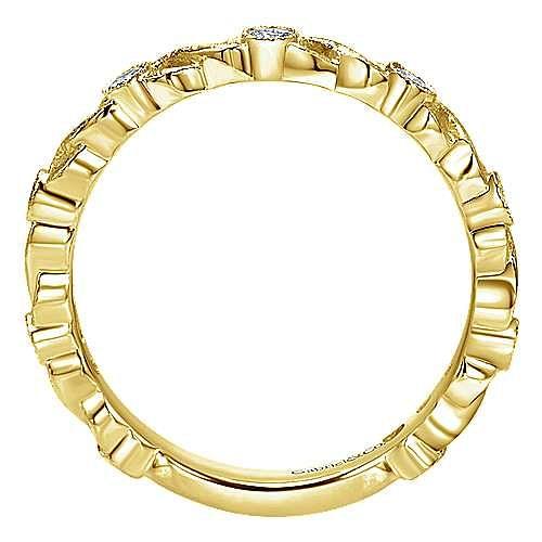 14K Yellow Gold Twisted Bezel Set Stackable Diamond Band