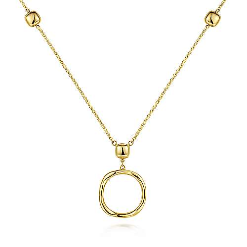 14K Yellow Gold Twisted Circle Pendant Necklace