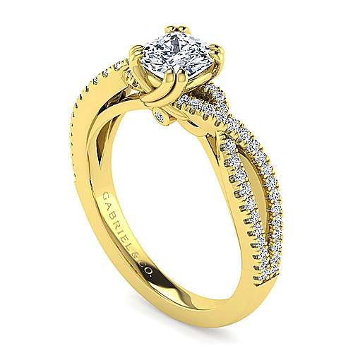 14K Yellow Gold Twisted Cushion Cut Diamond Engagement Ring