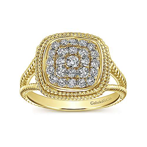 14K Yellow Gold Twisted Cushion Shaped Pave Diamond Ring