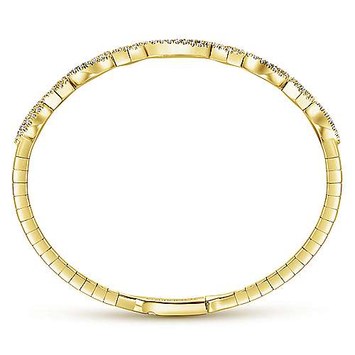 14K Yellow Gold Twisted Diamond Bangle