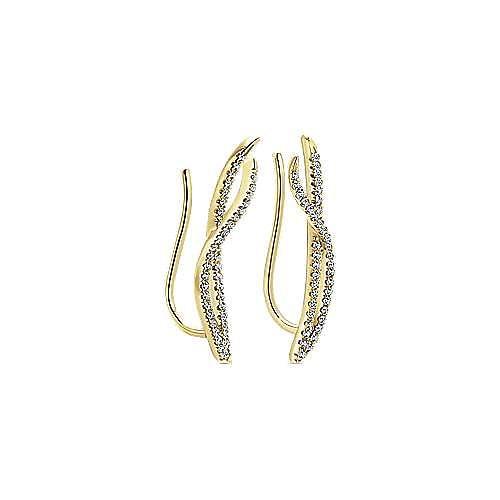 14K Yellow Gold Twisted Diamond Ribbon Ear Climber Earrings