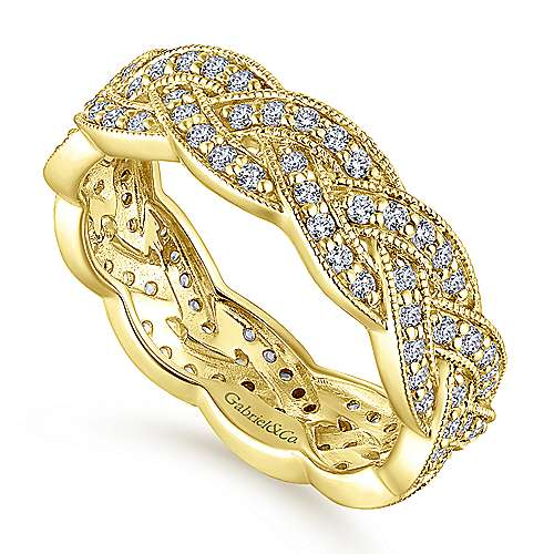 14K Yellow Gold Twisted Diamond Rows Eternity Ring