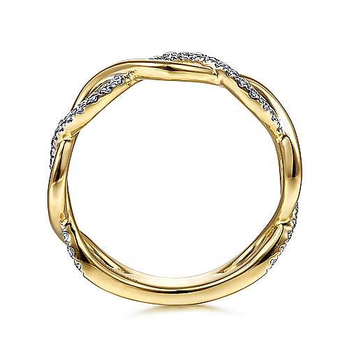 14K Yellow Gold Twisted Diamond Stackable Ring