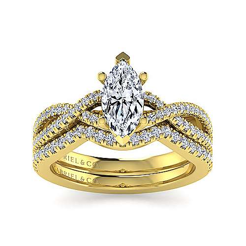 14K Yellow Gold Twisted Marquise Shape Diamond Engagement Ring