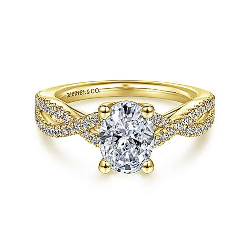 14K Yellow Gold Twisted Oval Diamond Engagement Ring