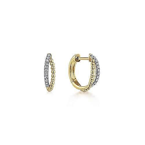 14K Yellow Gold Twisted Pavé 10mm Diamond Huggies