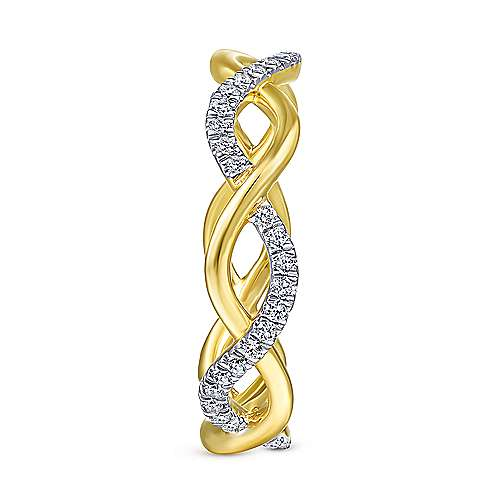 14K Yellow Gold Twisted Pavé Diamond Ring
