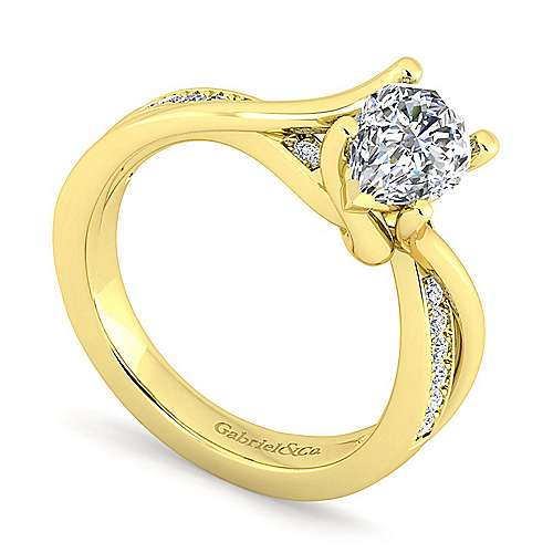 14K Yellow Gold Twisted Pear Shape Diamond Engagement Ring