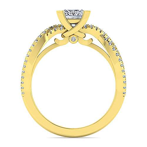 14K Yellow Gold Twisted Princess Cut Diamond Engagement Ring
