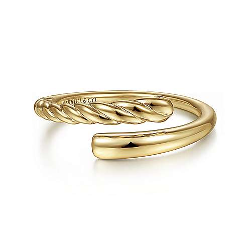 14K Yellow Gold Twisted Rope Bypass Open Ring