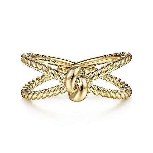 14K Yellow Gold Twisted Rope Criss Cross Ring