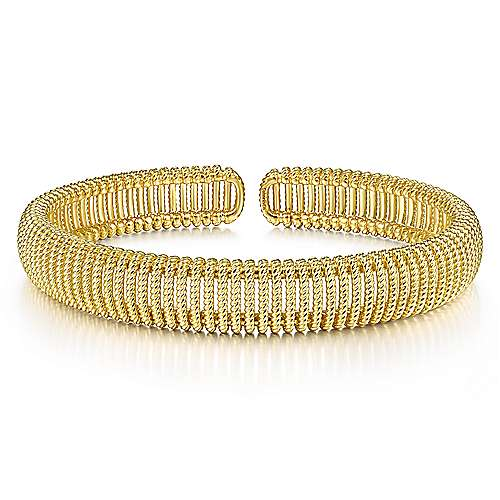 14K Yellow Gold Twisted Rope Cuff Bracelet