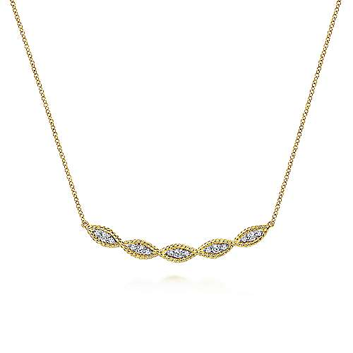 14K Yellow Gold Twisted Rope Curved Diamond Bar Necklace